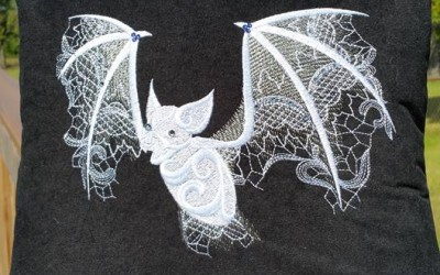 Embroidered Bat on pillow
