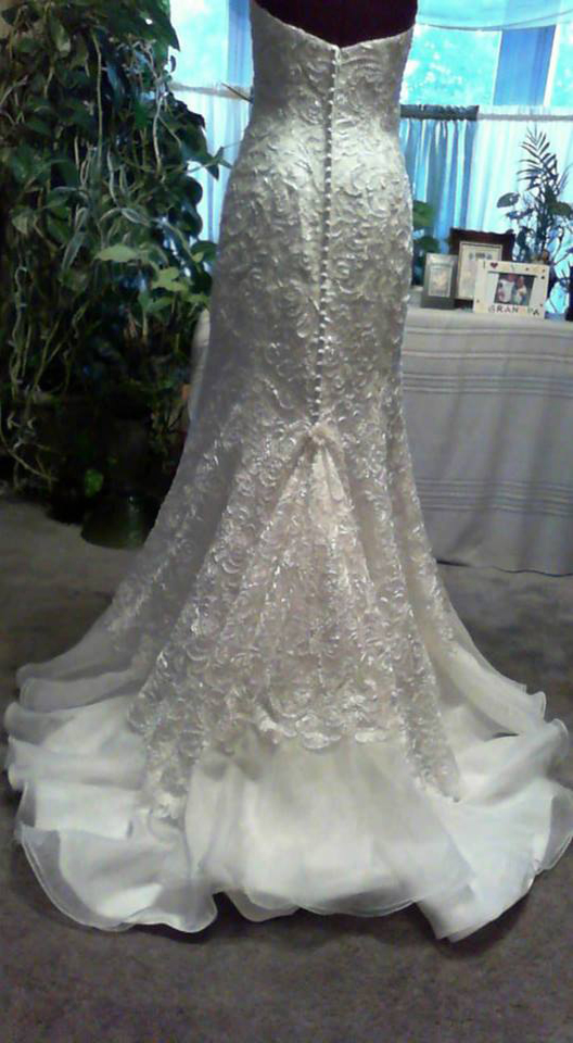 bridal gown, wedding gown, bustle, american bustle