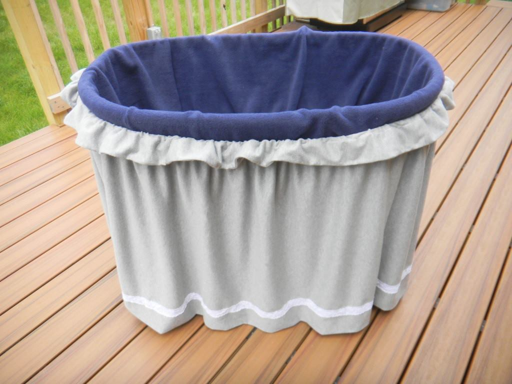 blue insert, gray ruffled curtain